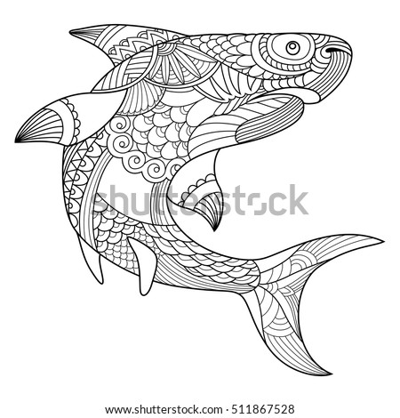 Shark Coloring Book Adults Vector Illustration Stock Vector (Royalty ...