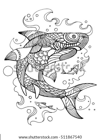 Shark Coloring Book Adults Vector Illustration Stock Vector Royalty