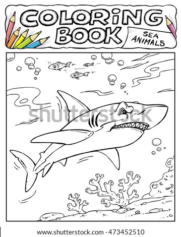 Shark Coloring Book Pages Sea Animals Stock Vector Royalty Free