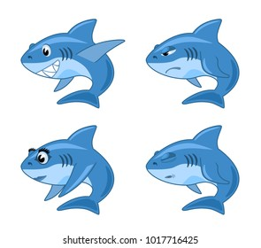shark comic cartoon illustration set