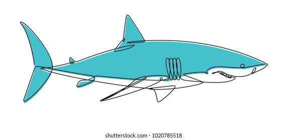 Shark Continuous Line Vector