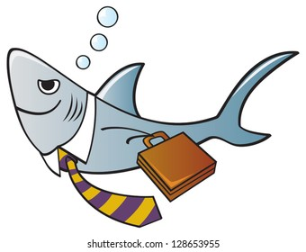 A shark dressed as a businessman with a tie and briefcase.