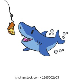 Shark eating pizza cartoon
