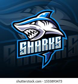 Shark esport mascot logo design