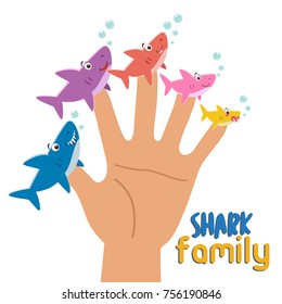 Shark family finger puppets. Parents with child. Cartoon vector illustration of happy puppet shark family. Togetherness, family love concept.