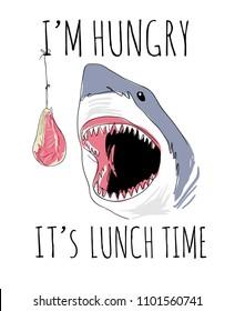 shark feeding cartoon illustration with slogan