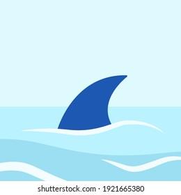 Shark fin above water. Vector illustration. Flat style