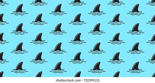 Shark fin dolphin ocean doodle vector seamless pattern