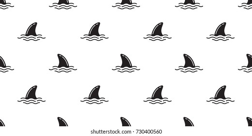 Shark fin dolphin fin ocean vector seamless pattern background wallpaper