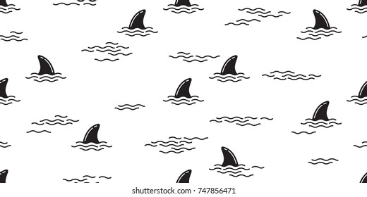 shark fin dolphin whale ocean wave vector seamless pattern wallpaper