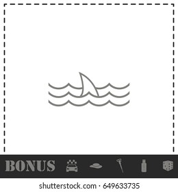 Shark fin icon flat. Simple vector symbol and bonus icon