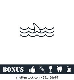 Shark fin icon flat. Vector illustration symbol and bonus pictogram