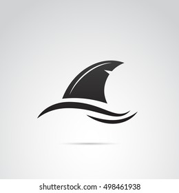 Shark fin icon isolated on white background. Vector art.