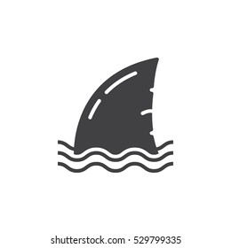 Shark fin icon vector, filled flat sign, solid pictogram isolated on white. Symbol, logo illustration