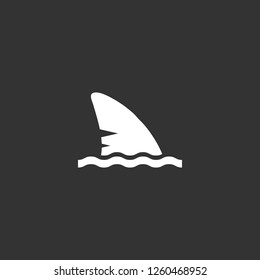 Shark fin icon vector. Shark fin sign on black background. Shark fin icon for web and app