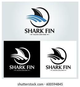 Shark fin logo design template. Vector illustration