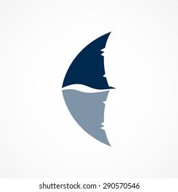 shark fin logo sign on white background