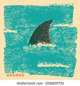 Shark fin in ocean.Vintage poster on old paper background