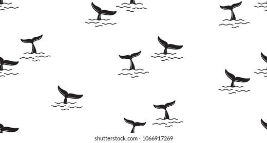 shark fin seamless pattern dolphin whale tail ocean vector background isolated wallpaper