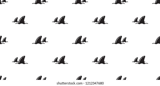 Shark fin seamless pattern vector dolphin ocean beach scarf isolated repeat wallpaper tile background