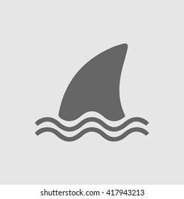Shark fin vector icon. Shark danger simple isolated symbol. Marine logo.