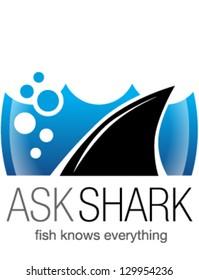 Shark fin in water. Logo, symbol, sign