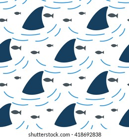 Shark fin in water waves seamless pattern. Flipper and fish in the sea white and blue background surface.