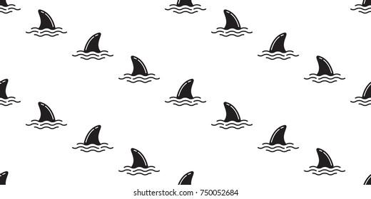 shark fin whale fish vector seamless pattern wallpaper background
