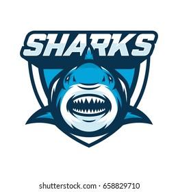 shark fish animal mascot head vector illustration logo