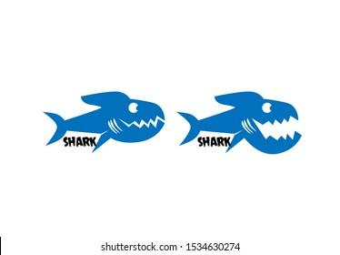 shark fish logo icon for adventure or fishing sport team