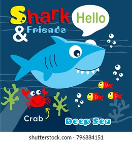 shark and friends funny cartoon,vector illustration