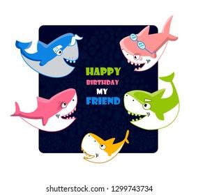 Shark happy birthday. Card. Fishes