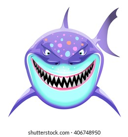 Shark head cartoon cute fun character, isolated on white background. Vector clip art illustration. Game character