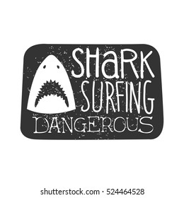 Shark Head With Open Mouth Summer Surf Club Black And White Stamp With Dangerous Animal Silhouette Template