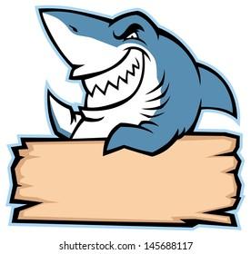 shark hold wood sign
