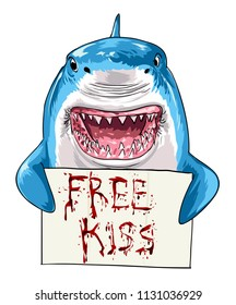 shark holding bloody free kiss sign illustration