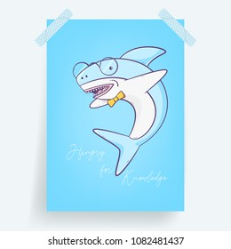 Shark hungry for knowledge, cute vector illustration