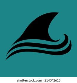 Shark icon. Abstract logo vector design template.