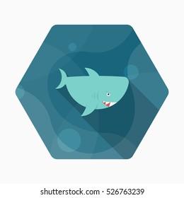 Shark icon, Vector flat long shadow design. EPS10