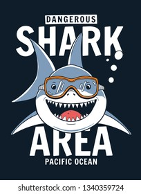 Shark illustration with slogans for t-shirt prints and other uses.