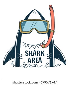 Shark illustration with typo for t shirt and other uses