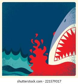Shark jaws poster.Vector danger background illustration for text
