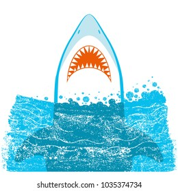 Shark jaws.Vector blue sea waves background illustration isolated on white