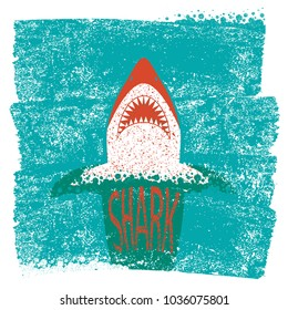 Shark jaws.Vector blue sea waves background with text