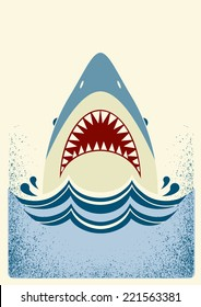 Shark jaws.Vector color background illustration for text