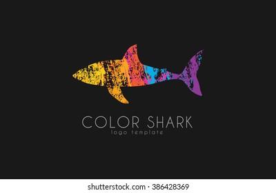 Shark logo. Color shark. Logo in grunge style. Creative logo design