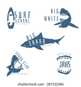 Shark logo concept for surf or beach club, isolated on white background. Vector illustration
