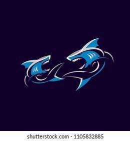 shark logo emblem. vector with eps 10 format