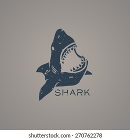 Shark logo with grunge style. Vector Illustration