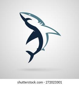 Shark logo on a white background